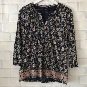 Lucky Brand | pleat front floral 3/4 sleeve blouse